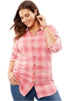 Woman Within Women's Plus Size The Classic Flannel Shirt