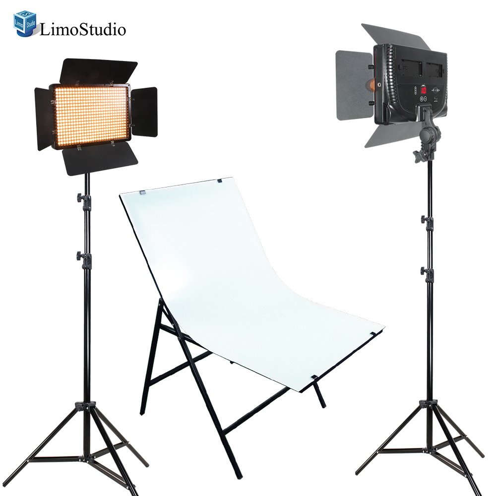 LimoStudio LED Barn Door Light Panel with Light Stand Tripod, Including Color Filter Gel, Foldable Studio Lighting Photo Shoot Table, Photo Studio, AGG2222 by LimoStudio
