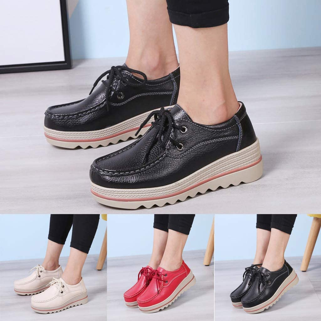 Women Platform Lace-Up Slip On Loafers Comfort Wingtips Square Toe Oxfords Shoe Wide Moccasins Wedge Sneakers