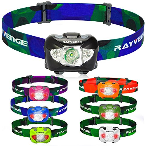 RAYVENGE T3A LED Headlamp with Red Light – Lightweight headlamp Flashlight for Running, Hiking, Camping – Best Headlamps with 3 AAA Batteries, 168-Lumen, Waterproof, Long Battery Life