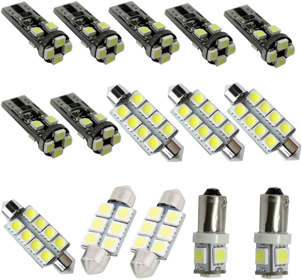 LED Bulbs For Audi Q7 A3 Reading lights,Xenon White Super Bright Error Free Canbus Car Interior Dome Map Door Courtesy License Plate Lights 15pcs