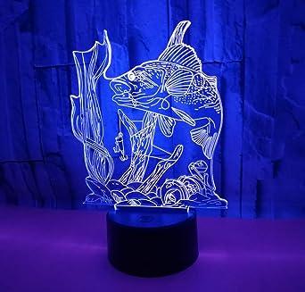 Lampe Usb Lumière Led Couleur À Distance De Poisson Creative 7 Changement 3d Télécommande Bureau Crochet Carpe Nuit Pêche QCsdthr