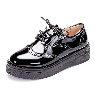 Femmme Mocassins Cuir Paillette Lacets Gothique Punk Creepers Chaussure  Taille 34 Noir 3d9e2e562583