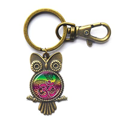 Om Aum Ohm Buda búho llavero Namaste llavero Yoga Jewelry ...