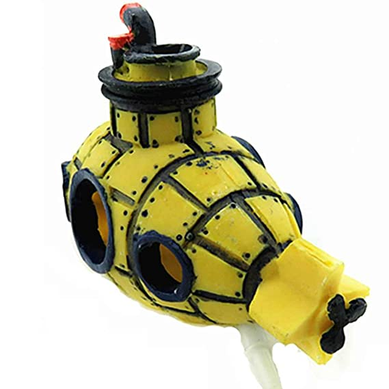 Amazon.com : Omkuwl Yellow Submarine Fish Cave Shipwreck Aquarium Ornament Fish Tank Decoration : Pet Supplies
