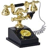 1/12 Dollhouse Mínimo Teléfono De Color Oro Y Negro Muñeca De Teléfono Fijo
