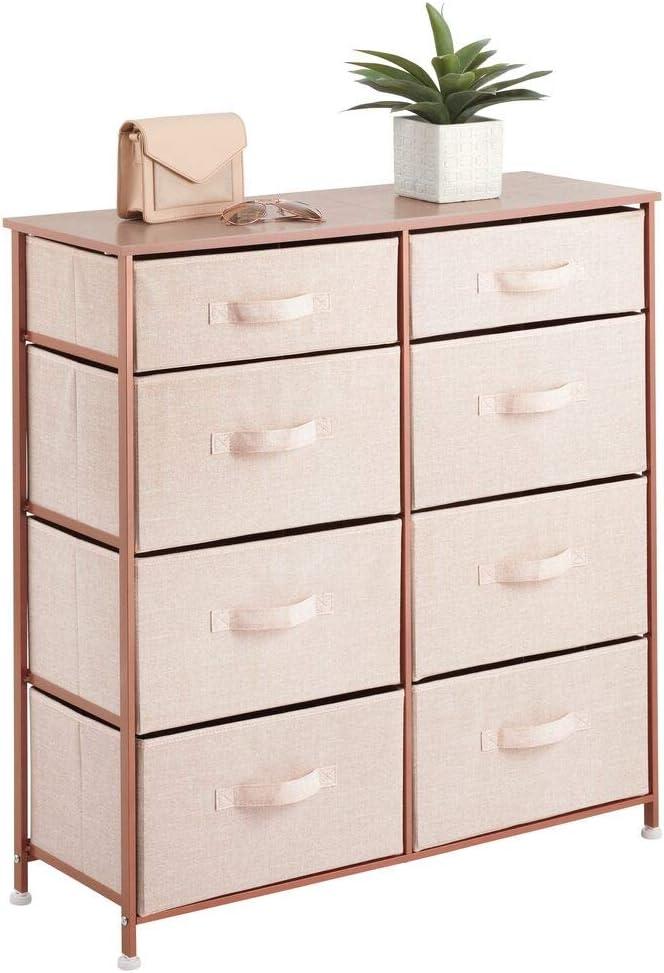 mDesign Slim 8-Drawer Furniture Storage Tower - Sturdy Steel Frame, Easy Pull Fabric Bins - Organizer Unit for Kid's Bedrooms, Playrooms, Nurseries - Pink/Rose Gold