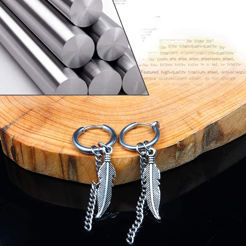 Dangling Long Curb Chain Feather Earrings Hinged Hoop Earrings with Long Chains Dangle Feather Leaves Earring Dangle Hoop Earring for Men Women Girls Gift Sliver 1PC