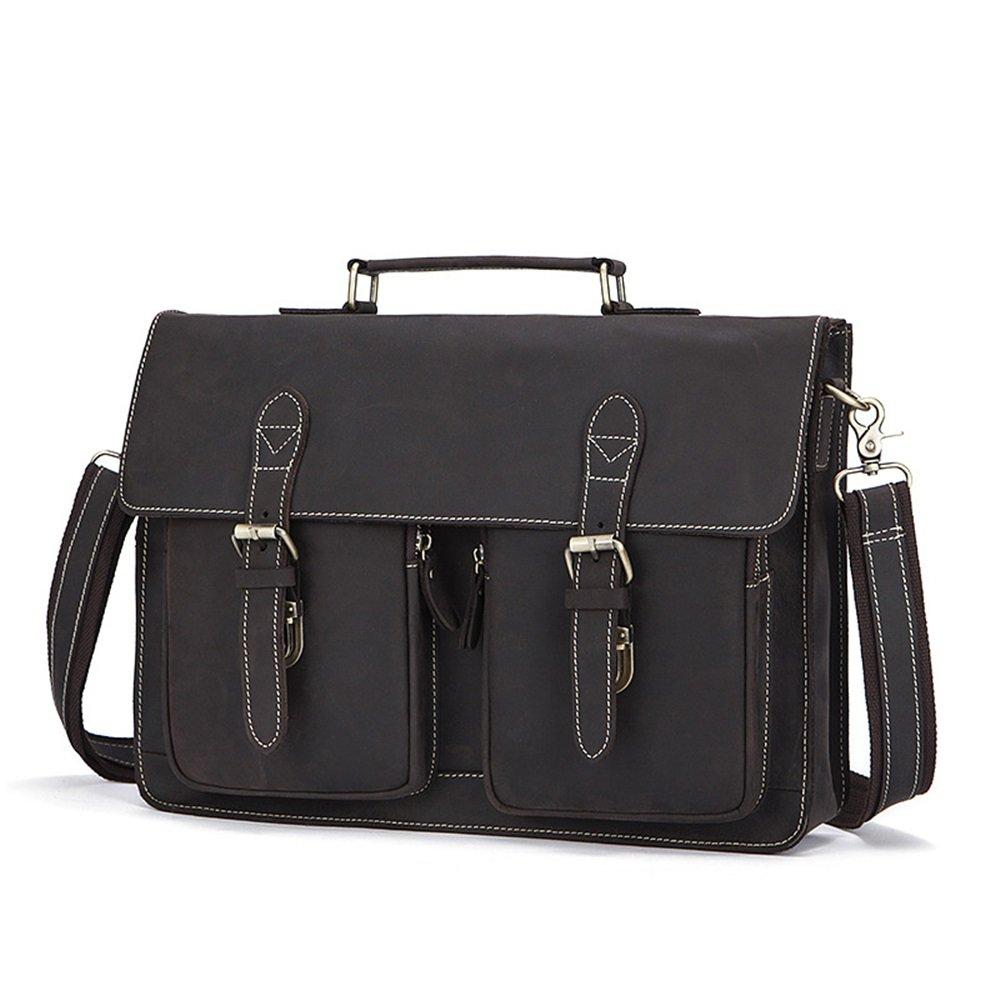 Messenger bag Color : Chocolate Color Business Mens Leather Briefcase Messenger Bag
