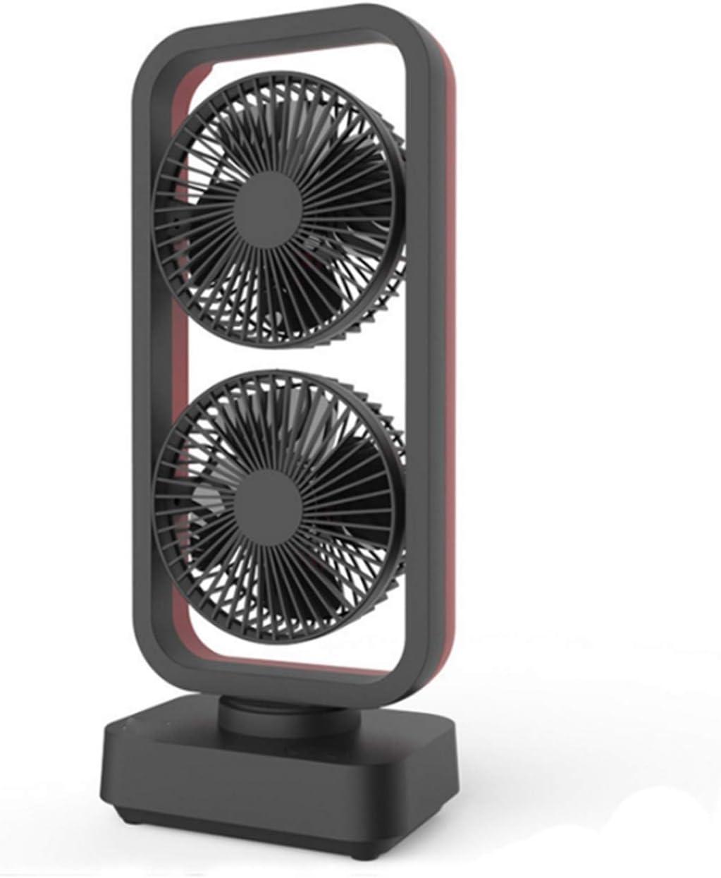 Air Cooling Fan USB Mini Double Fan Air Cooler Rechargeable Portable Cooling Table Desktop Fan for Home Office Color : Blue Black