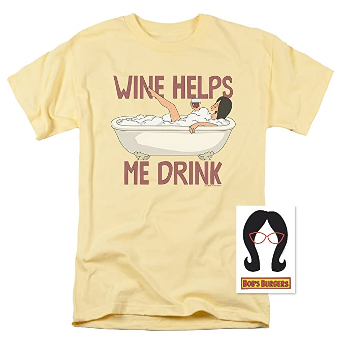 dba37482e94c Bob s Burgers Wine Helps Me Drink T Shirt   Exclusive Stickers Banana Small  Banana