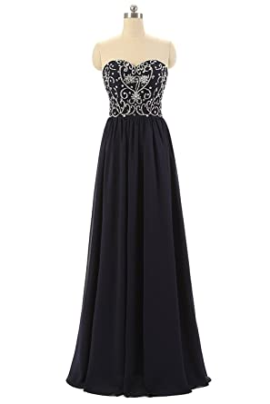 Cloverdresses Womens Sweetheart Prom Dresses Navy Blue Bridesmaid Dresses Long Formal Evening Dresses (2,