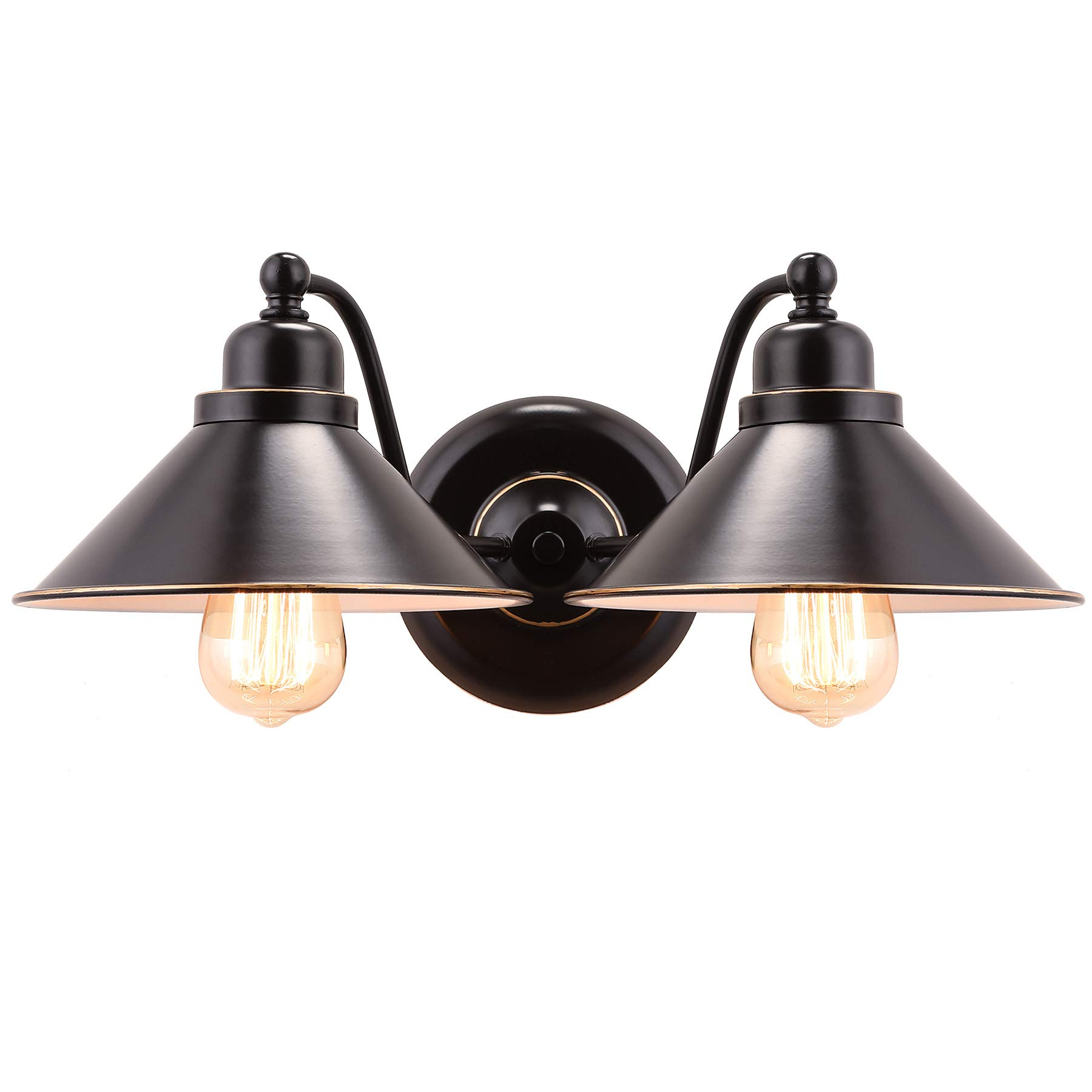 CO-Z 2 Light Wall Sconce in Oil Rubbed Bronze Finish, Vintage Industrial Style Sconces Wall Lighting Fixture, Metal Wall Mount Lamp for Bathroom Bedroom Reading Cafe, ETL. (2 Light)