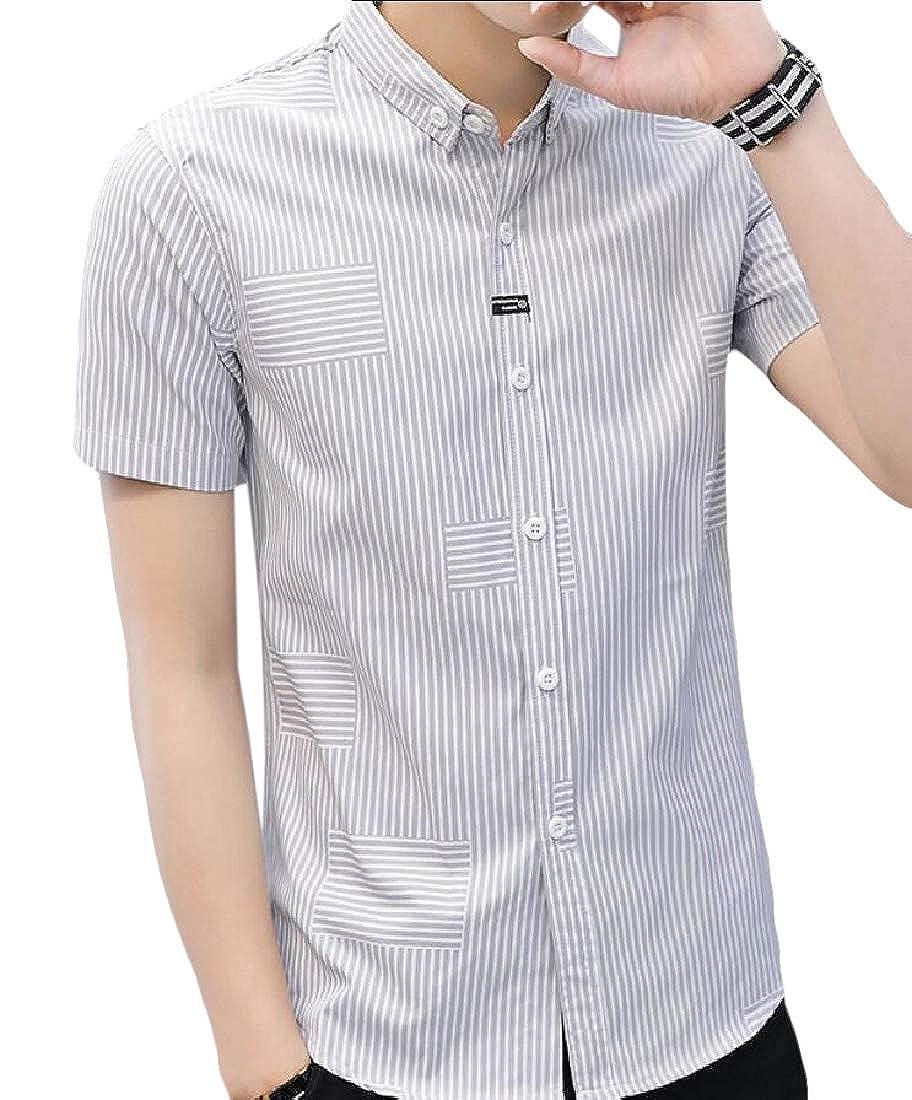 Beloved Men Short Sleeves Regular Fit Button Down Shirt Vertical Striped Dress Shirt
