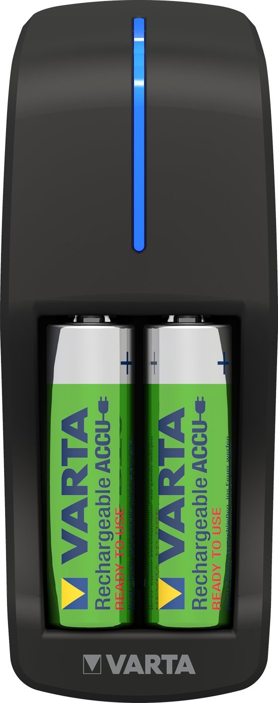 VARTA Pocket Charger - Cargador de pilas AA y AAA (incluye 4 pilas recargables AA de 1600 mAh)