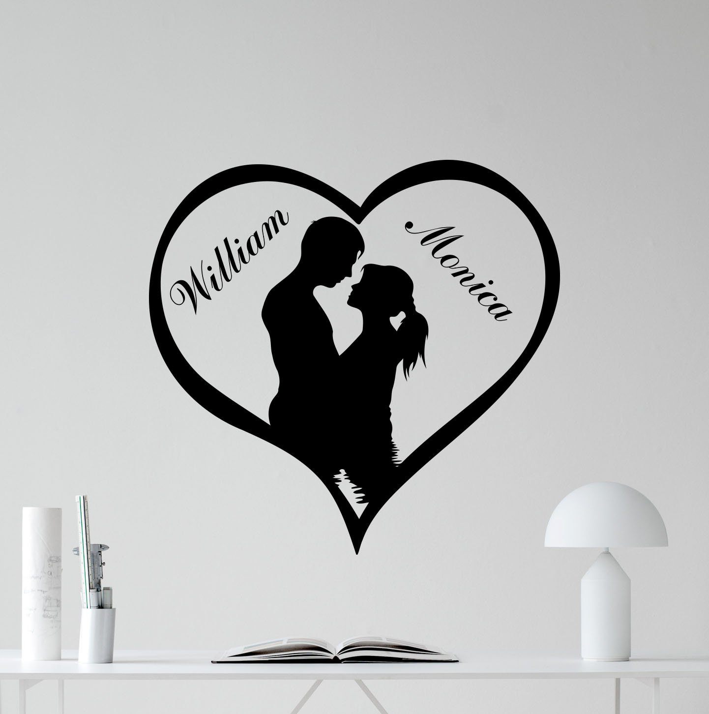 Custom name wall decal heart love man girl loving personalized vinyl sticker living room family personal name wall decor cool wall art design bedroom wall