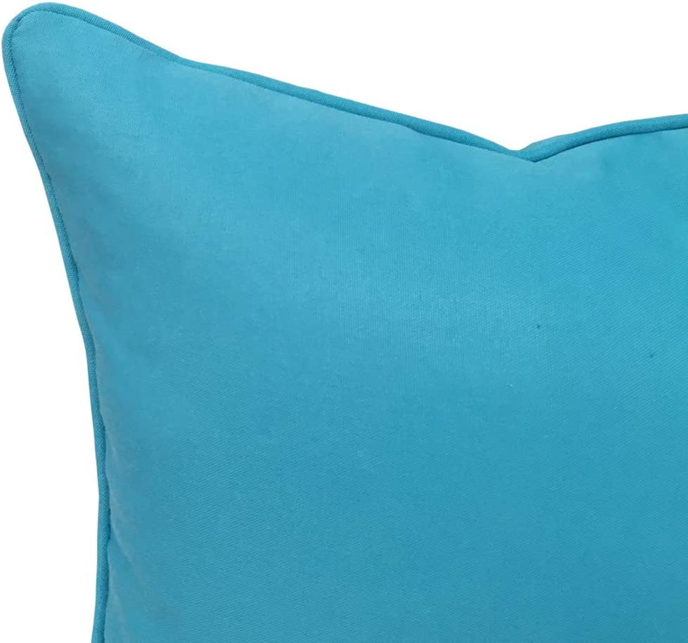 Vanteriam 2 Pack Decorative Outdoor Solid Waterproof Throw Pillow Cover with Piping, Accent Pillow case for Outdoor Patio Furniture Set, Square 18 x18 Sky Blue