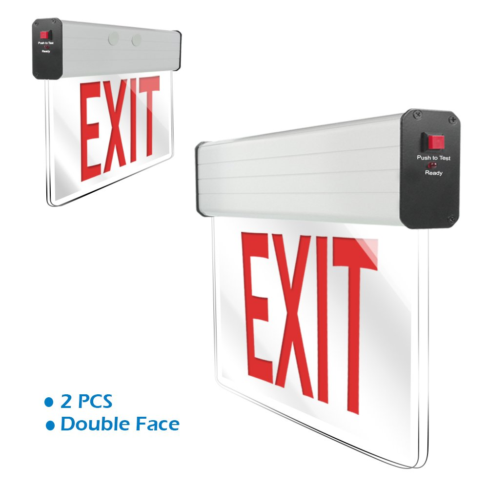 eTopLighting [2 Pack] LED Exit Sign Emergency Light, Translucent Body & Red Letter, Double Face, Side & Top Mounting Adapter, AGG2176