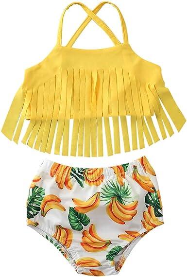 YOUNGER TREE Baby Girl Bikini Swimsuit Floral Ruffle Halter ...