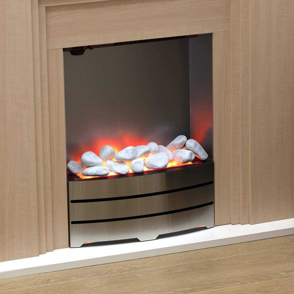 Warmlite WL45046 Oxford Electric Fireplace suite White LED Flame Effect with Pebble Display Adjustable Thermostat with Remote Control Operation