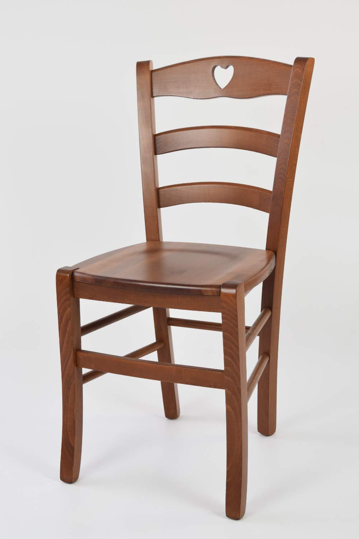 con Estructura y Asiento en Madera de Haya Pintado Miel Tommychairs sillas de Design Comedor Bar y Restaurante Silla Modelo Cuore para Cocina