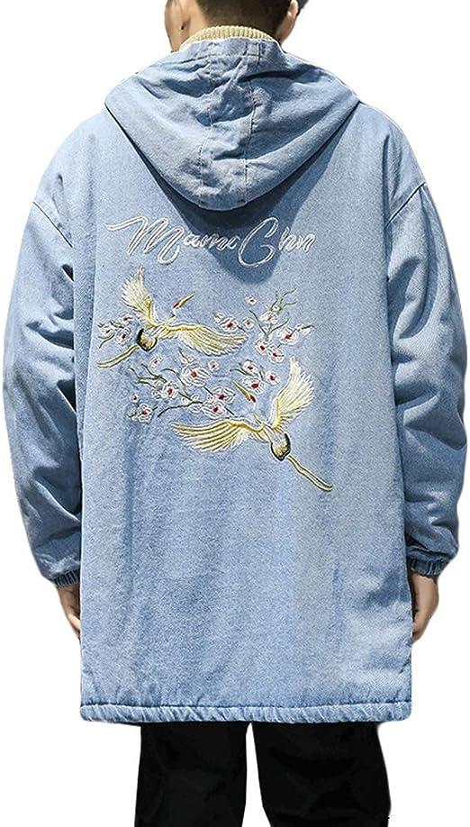 ZhongJue(ジュージェン)デニムコート メンズ 裏起毛 コート ロング丈 フード付き ジージャン デニム 厚手 ゆったり ジャケット 防寒 カジュアル gジャン 暖かい おしゃれ アウター 冬 大きいサイズ