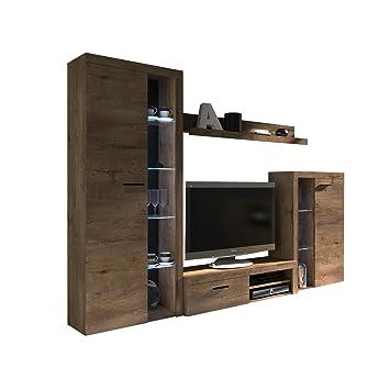 Wohnwand Rango Design Wohnzimmer Set Modernes Anbauwand Schrankwand Vitrine Tv Lowboard Mediawand Ohne Beleuchtung Lefkas Eiche