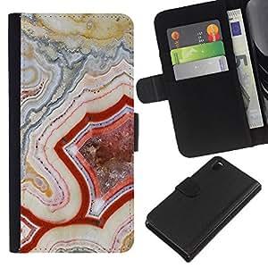 iBinBang / Flip Funda de Cuero Case Cover - Patrón Geología Roca Roja Naturaleza - Sony Xperia Z3 D6603 / D6633 / D6643 / D6653 / D6616