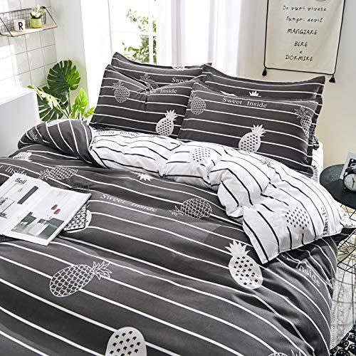 (KFZ Bed Set Beddingset Duvet Cover No Comforter Flat Sheet Pillow Case MJ1808 Twin Full Queen King Sheets Set Pineapple Mushroom Cactus Designs for Kids (Sweet Pineapple, Black, Queen 78