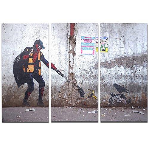 Designart Spiderman in Dharavi Slum-Street Art Metal Wall Art-MT6657-36x28 3 Panels