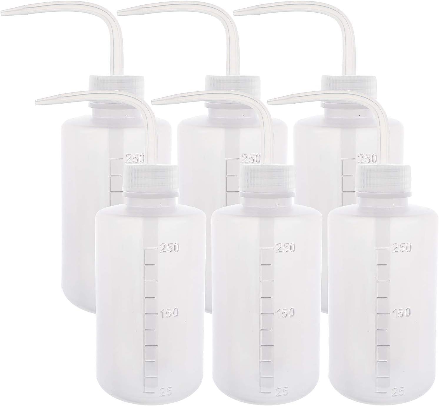 SUPERLELE 6pcs LDPE 250ml 8.5oz Safety Wash Bottle, Plastic Squeeze Bottle Squirt Bottle Medical Label Tattoo Wash Bottle