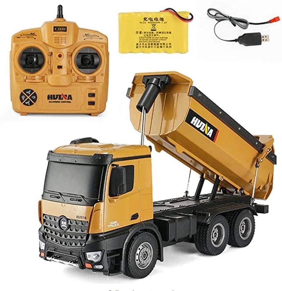 KOSGK Mini Car Toys for Kids Camión 10 Canales 1:14 Camión Control Remoto Camión volquete Camión volquete eléctrico La tolva del automóvil Puede Levantar y Bajar Decoraciones Mesa Regalo cumpleaños
