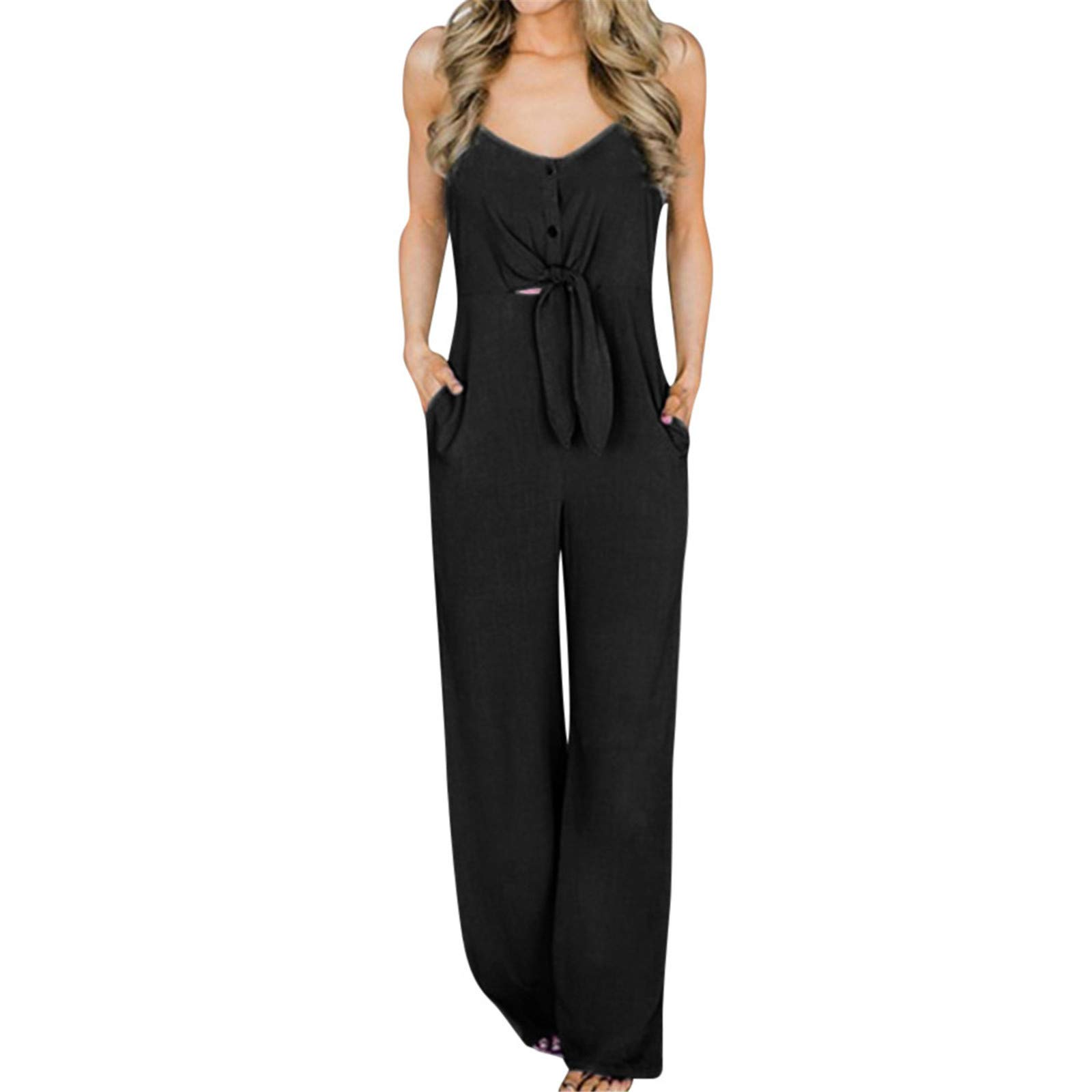 Thenxin Cami Jumpsuit for Women V-Neck Bow Knot High Waist Solid Color Long Playsuit with Pockets(B,L)