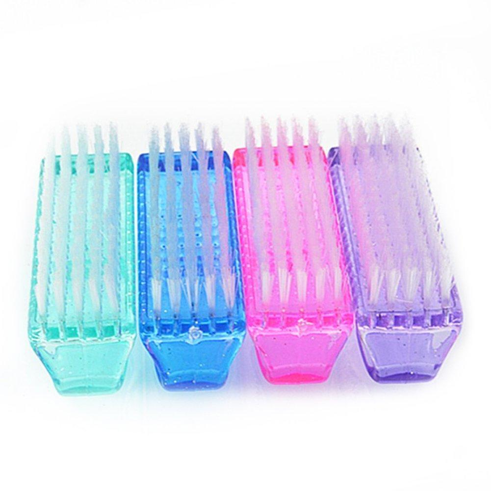 naisicatar cepillo de uñas plástico cepillo de lavado a mano cepillo de limpieza uñas limpieza herramientas 4piezas (azul, rosa, púrpura, verde)