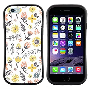 Pulsar iFace Series Tpu silicona Carcasa Funda Case para Apple (4.7 inches!!!) iPhone 6 Plus / 6S Plus ( 5.5 ) , Flores amarillas Feliz Melocotón blanco""