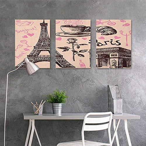 HOMEDD Canvas Print Artwork,Eiffel Tower Paris Eiffel Tower Bakery Delicious Croissant Traditional Floral Design,Oil Canvas Painting Wall Art 3 Panels,16x24inchx3pcs Pink Dark Brown