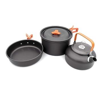 ZMEETY Camping Utensilios Acampada ollas de vajilla para sartenes Cookware Kit Picnic Ollas Cocina Camping Juego de vajilla para 1-2 Personas,Orange: ...