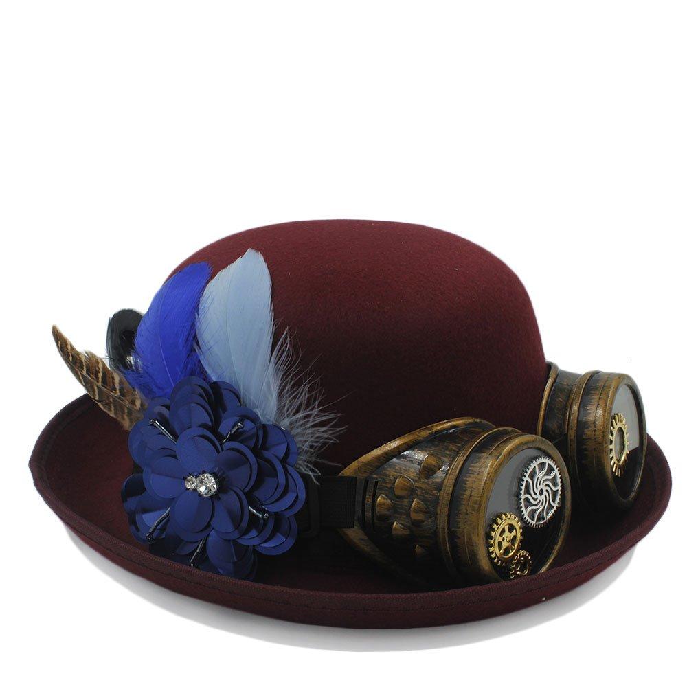 HYF Cappello da Bowler Steampunk Femminile Lady Gear Occhiali Cosplay Party Caps Cappello di Feltro (Colore : Vino Rosso, Dimensione : 56-58cm)