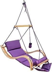 LazyDaze Hammocks Patio Garden Outdoor Deluxe Hanging Hammock Lounger Chair with Cup Holder,Footrest&Hardware, Capacity 350 lbs (Purple)