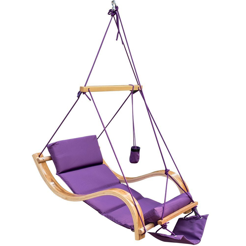 Lazy Daze Hammocks Patio Garden Outdoor Deluxe Hanging Hammock Lounger Chair with Cup Holder,Footrest&Hardware, Capacity 350 lbs (Purple) …