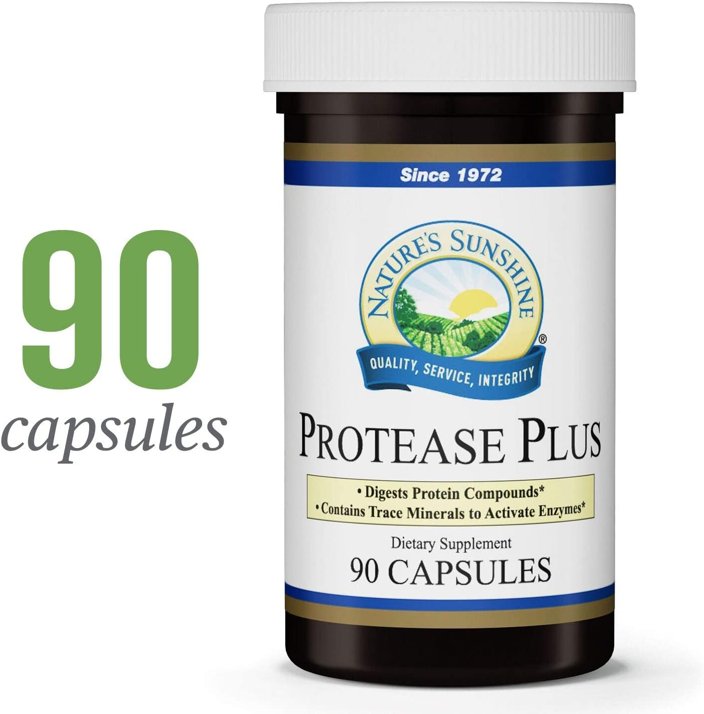 Nature s Sunshine Protease Plus, 90 Capsules Powerful Digestive Enzyme Supplements with 60,000 HUT Protease to Break Down Proteins and Amino Acids