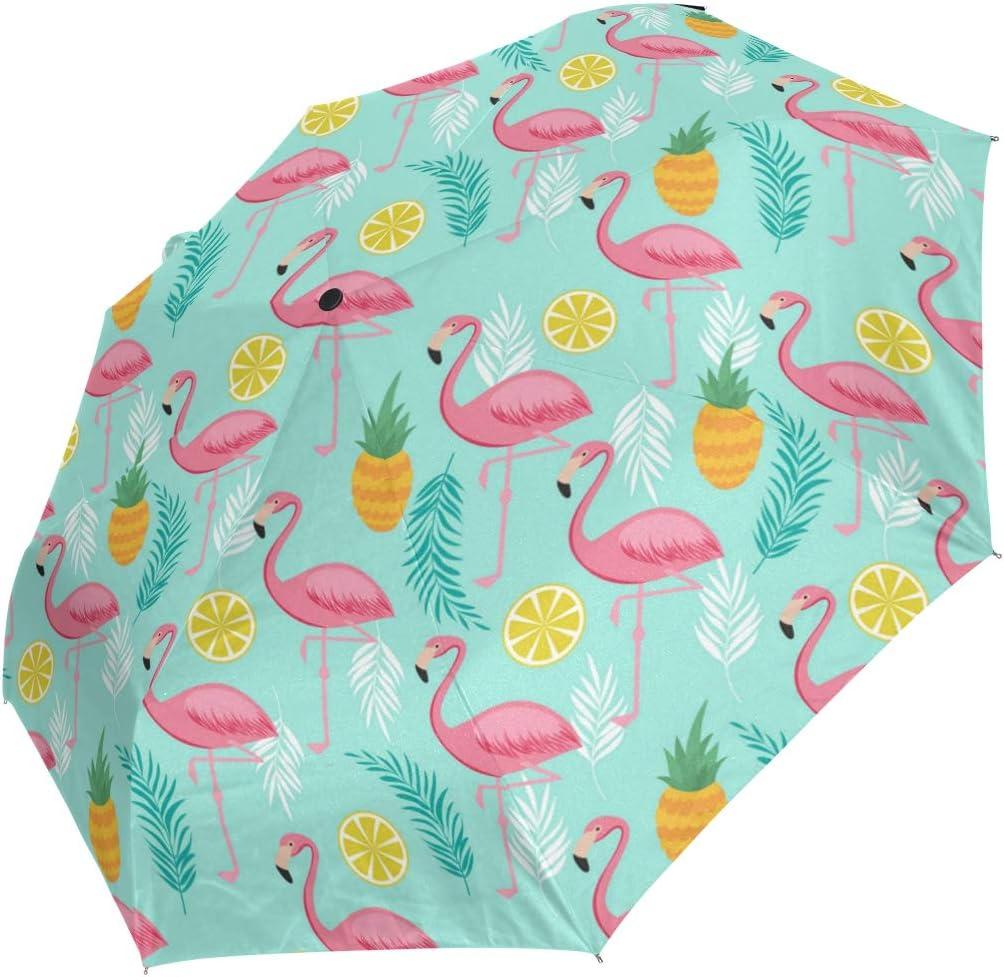 Pink Flamingo Tropica Leaves Small fashion print cute Windproof automatic tri-fold umbrella sun UV protection Sun umbrella