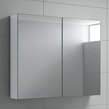 Harper Bathroom Mirror Cabinet Wall Storage Cupboard Gloss White Furniture