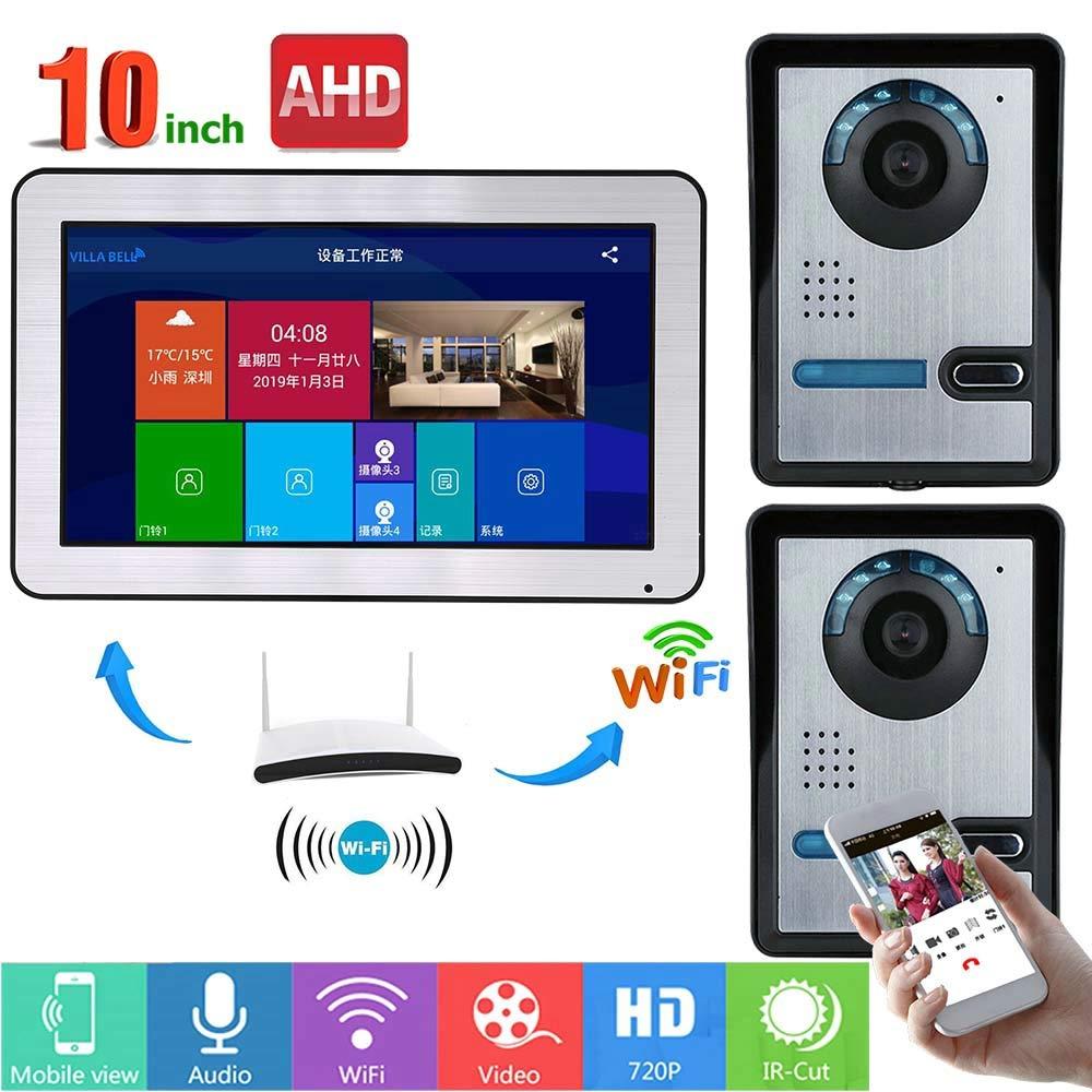 JINPENGPEN 10 inch WiFi Intelligent Video intercom Access Control System HD 1000TVL Infrared Night Vision Camera