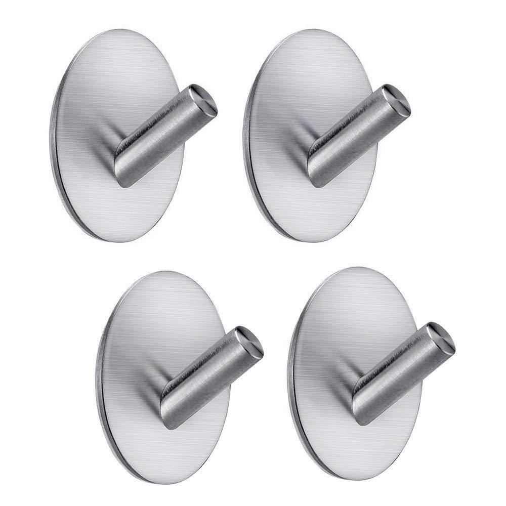 Fotosnow Adhesive Hooks, Heavy Duty Hooks Stainless Steel Self Adhesive Wall Hooks for Hanging Robe Towel Keys Hats Bags Bathroom, Kitchen, Toilet 4-Packs