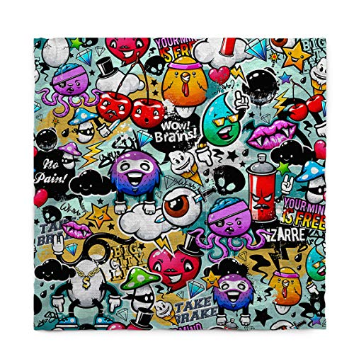 Rectangle Polyester Tablecloth, Halloween Theme Cartoon Brains Eyeball and Monster Tablecloths Machine Washable Table Cover Decorative Table Cloth for Kitchen Dinning Banquet Parties 60 x 60 Inch -