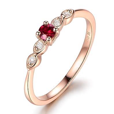 Ruby Wedding Rings.14k Rose Gold Wedding Ring Round Cut Ruby Engagement Ring
