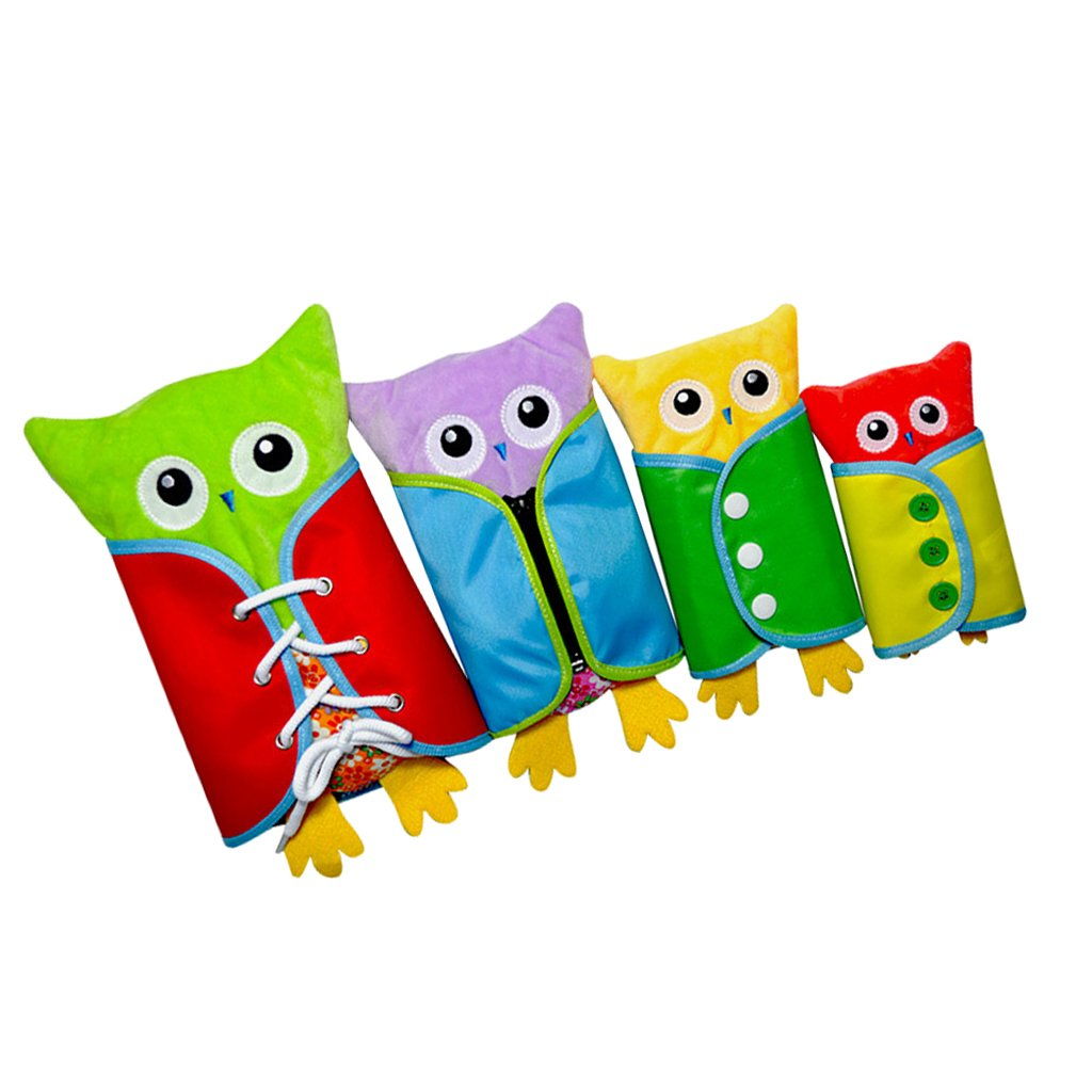 MagiDeal 4 Pieces Push Owl Toy Baby Learning Dressing Practical Board Kids Development Hand Eye Coordination Toy