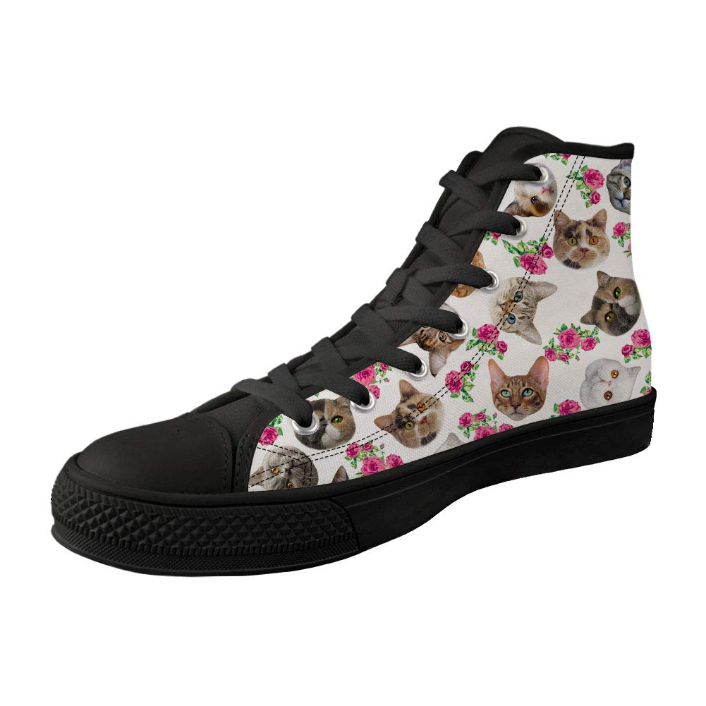 Dellukee Walking Shoes Black High Top Cat Flower Casual Men Fashion Sneakers