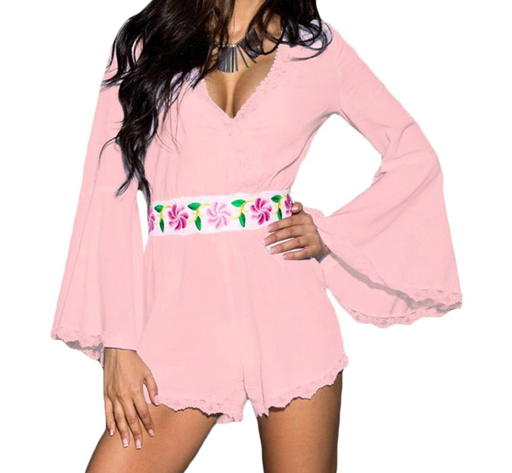 YeeATZ Bell Sleeve Scalloped Lace Trim Belted Playsuit(Pink,M)
